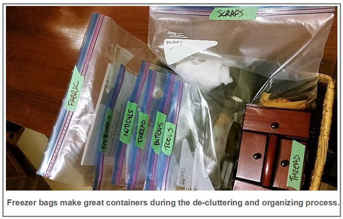 freezer bags make great containers during the de-cluttering and organizing process