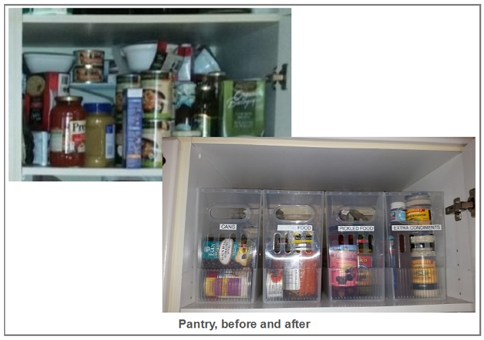 pantry before and after organizing by Alison Lush
