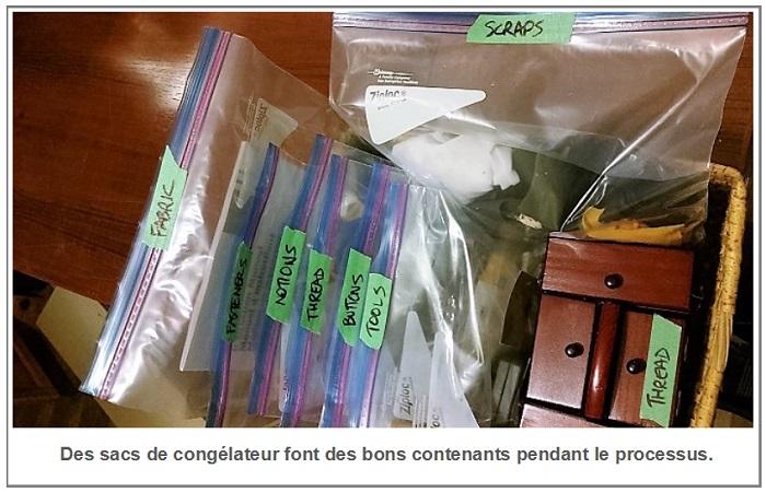 des sacs de congélateur font des bons contenants pendant le processus